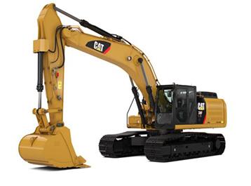 Grote hydraulische graafmachine op rupsen 36-100t Bergerat Monnoyeur Caterpillar CAT