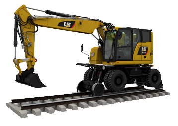 Pelles hydrauliques rail route Caterpillar Bergerat Monnoyeur CAT