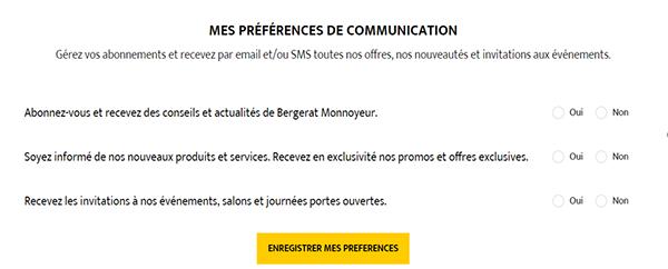 Page portail BM préférences de communication